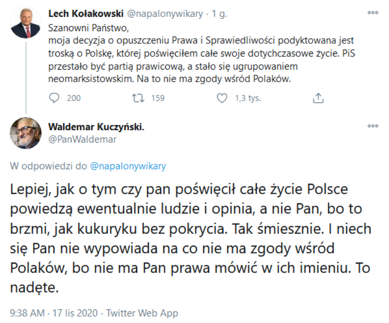 Komentarz byłego ministra Waldemara Kuczyńskiego do fałszywego wpisu Lecha Kołakowskiego