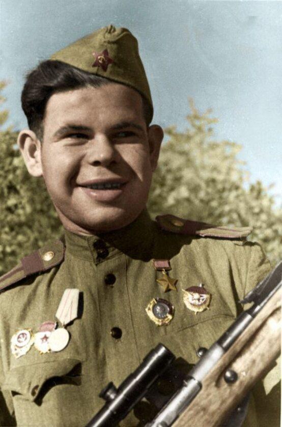 Bohater Związku Radzieckiego, snajper Nikołaj Jakowlewicz Iljin