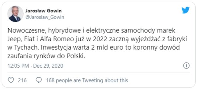 Skasowany twitt Jarosława Gowina