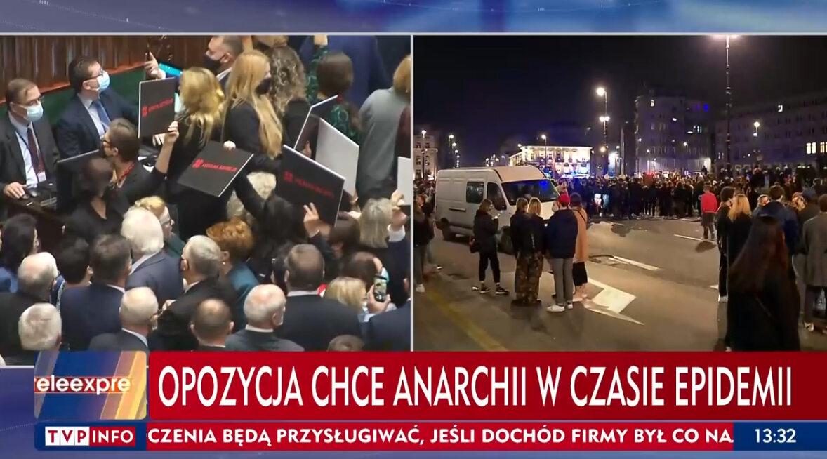 Pasek TVP Info opisujący dzisiejsze wydarzenia w Sejmie