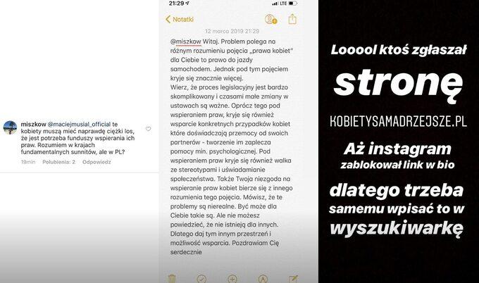 Screenshot zInstaStory Macieja Musiała. Aktor odpowiedział nakomentarz internauty