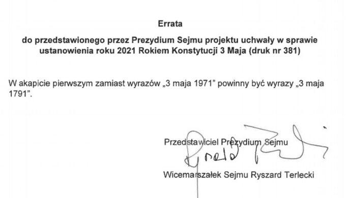 Errata zgłoszona przez Ryszarda Terleckiego