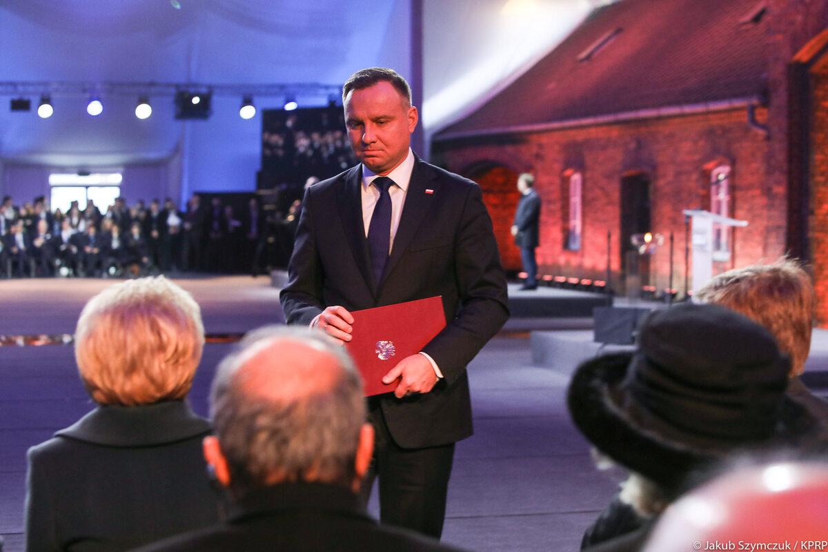 Andrzej Duda przemawiający na obchodach rocznicy wyzwolenia Auschwitz