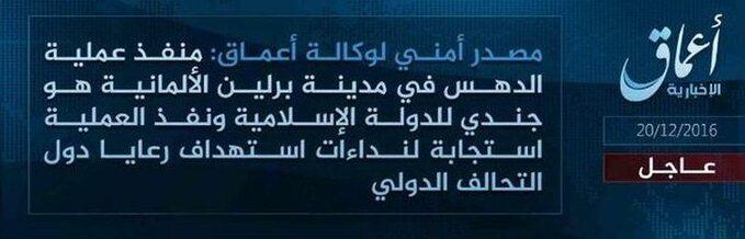 Informacja agencji prasowej Amaq, wktórej Daesh maprzyznać się zamachu wBerlinie