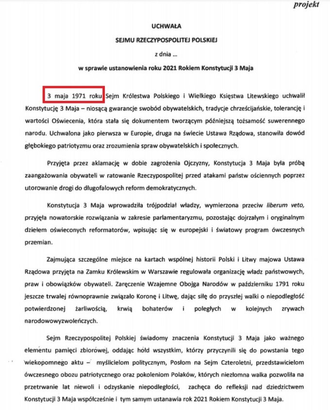 Projekt uchwały Sejmu ustanawiającego rok 2021 Rokiem Konstytucji 3 Maja zbłędem