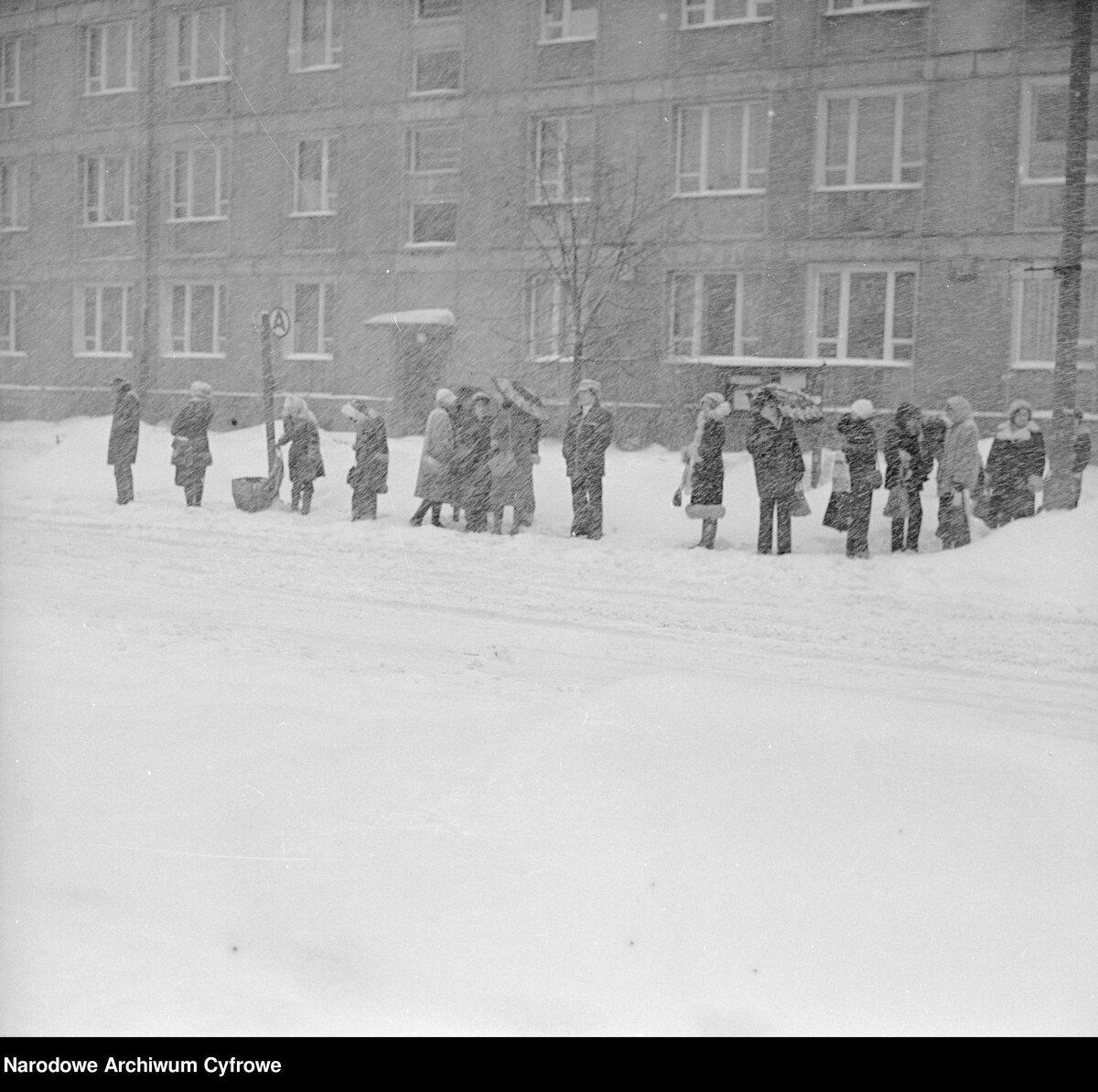 Zima Stulecia na Wierzbnie w Warszawie. Przechodnie na przystanku autobusowym
