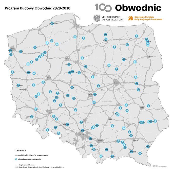 Mapa obwodnic wPolsce 2020-2030