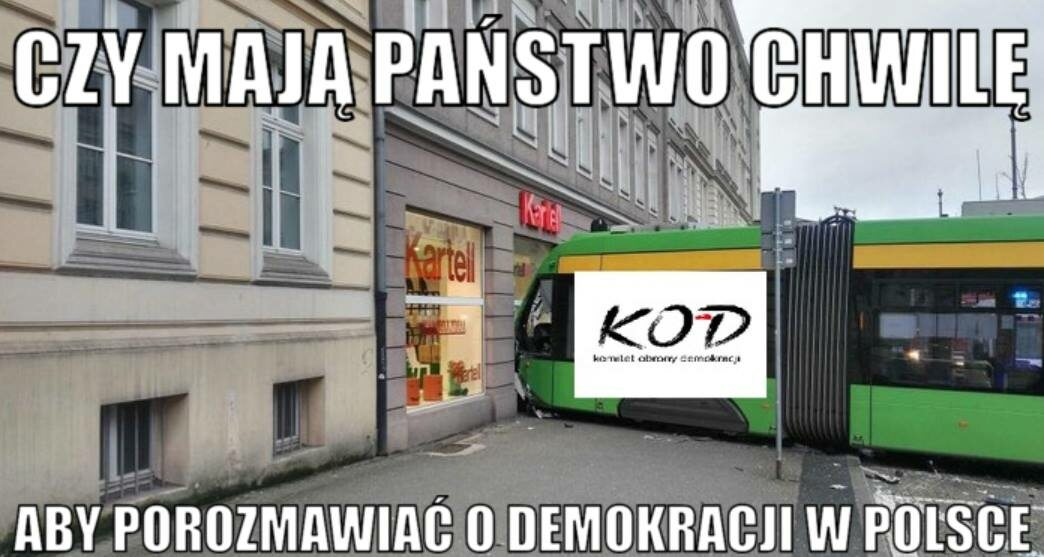 Mem z poznańskim tramwajem