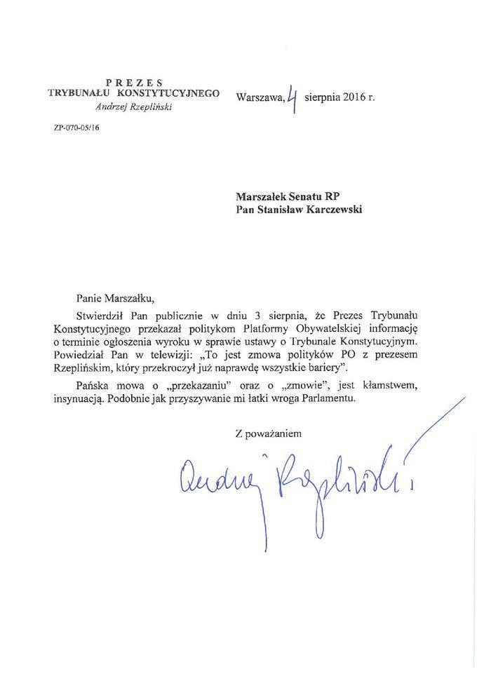 List Andrzeja Rzeplińskiego doStanisława Karczewskiego