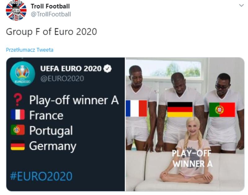 Mem po losowaniu grup Euro 2020