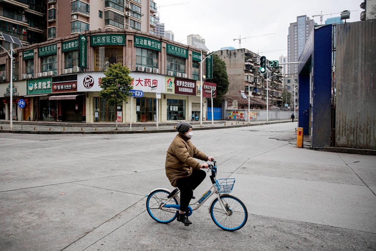 Prawie puste ulice w Wuhan (7 lutego)