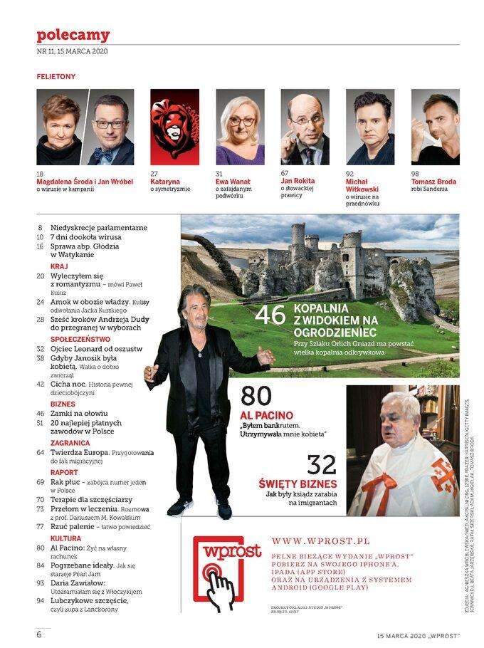 Tygodnik WPROST 11/2020 -spis treści