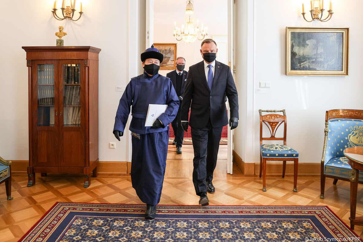 Andrzej Duda i ambasador Mongolii w RP