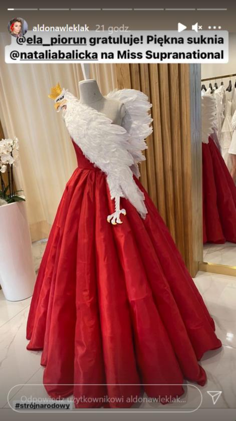 Suknia Natalii Balickiej na konkurs Miss Supranational 2021 zaprojektowana przez Elę Piorun