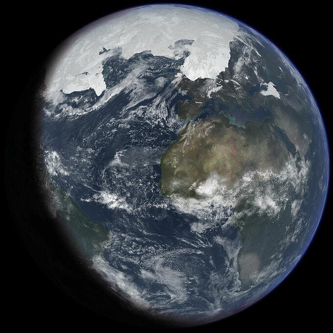 Impresja artystyczna zasięgu pokrywy lodowca naZiemi podczas maksimum ostatniej Epoki Lodowcowej