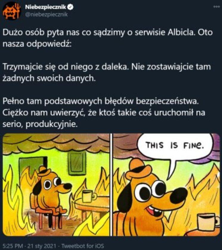 Komentarz podsumowujący start serwisu Albicla
