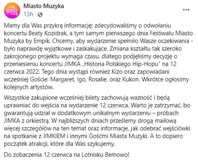 Komunikat ws. Miasto Muzyka