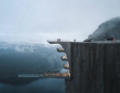 Niezwykły hotel na zboczu klifu. Basen z przezroczystym dnem może...