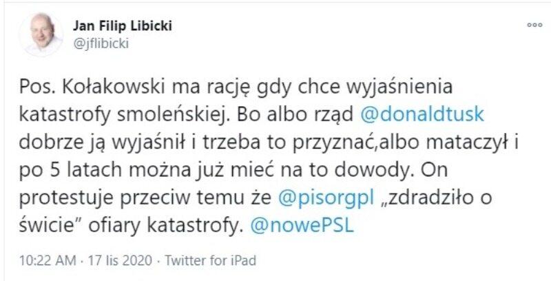 Komentarz senatora Jana Filipa Libickiego do fałszywego wpisu Lecha Kołakowskiego