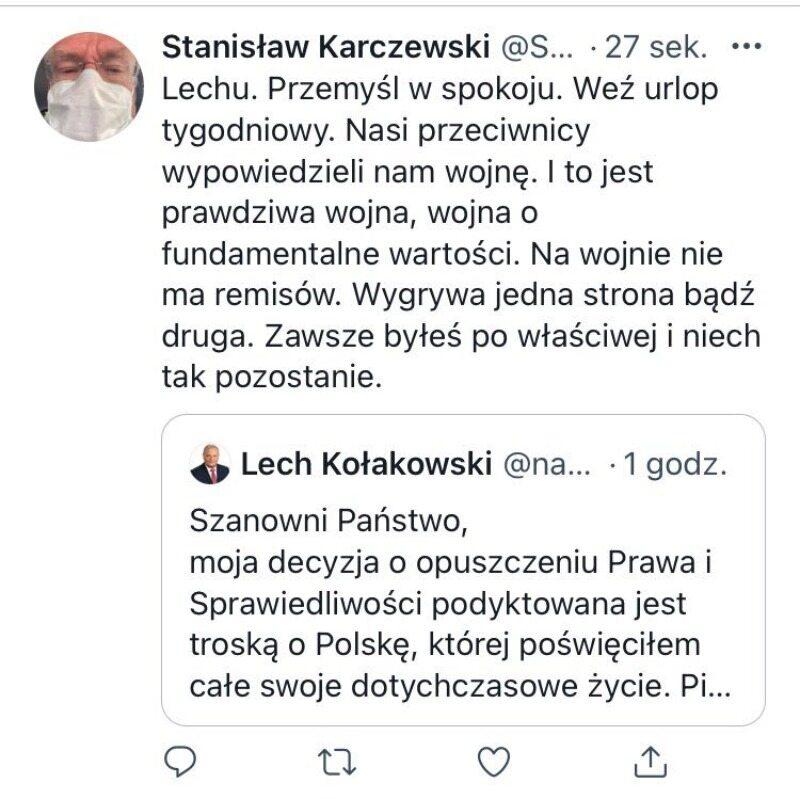 Komentarz Stanisława Karczewskiego do fałszywego wpisu Lecha Kołakowskiego