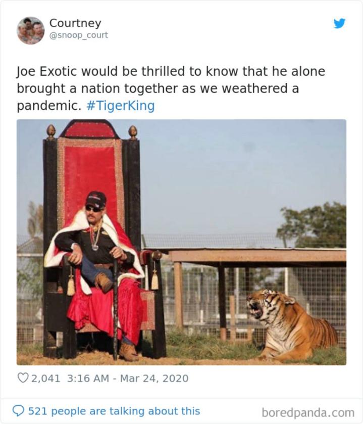 Joe Exotic byłby zachwycony, jakby wiedział, że on sam zjednoczył naród w obliczu pandemii
