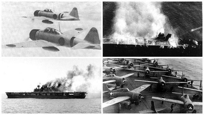 4–7 czerwca 1942. Bitwa o Midway. Bitwa lotniczo-morska w czasie II wojny   światowej, pomiędzy okrętami japońskimi a amerykańskimi, w pobliżu atolu Midway  na Oceanie Spokojnym. (fot. (By collection by DanieleDF1995 CC BY-SA 3.0)