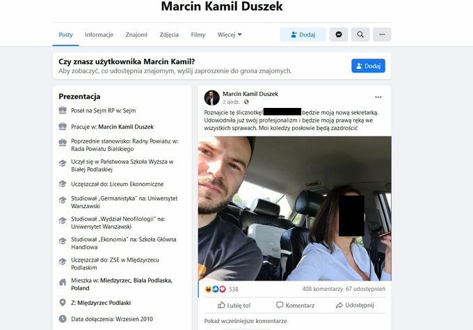Screen zprofilu Marcina Duszka