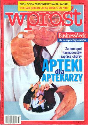 Okładka tygodnika Wprost nr 37/2001 (981)