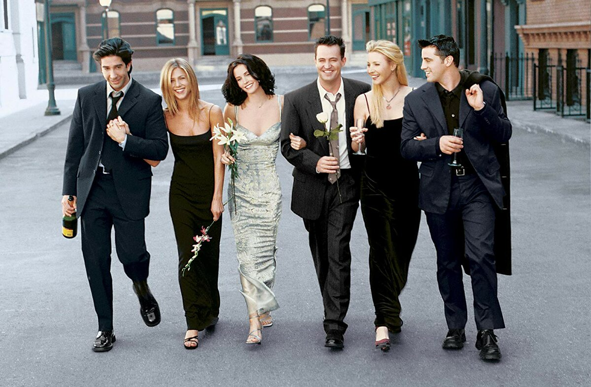 "Obsada serialu ""Przyjaciele"" Jennifer Aniston, Courteney Cox, Lisa Kudrow, Matt LeBlanc, Matthew Perry i  David Schwimmer."