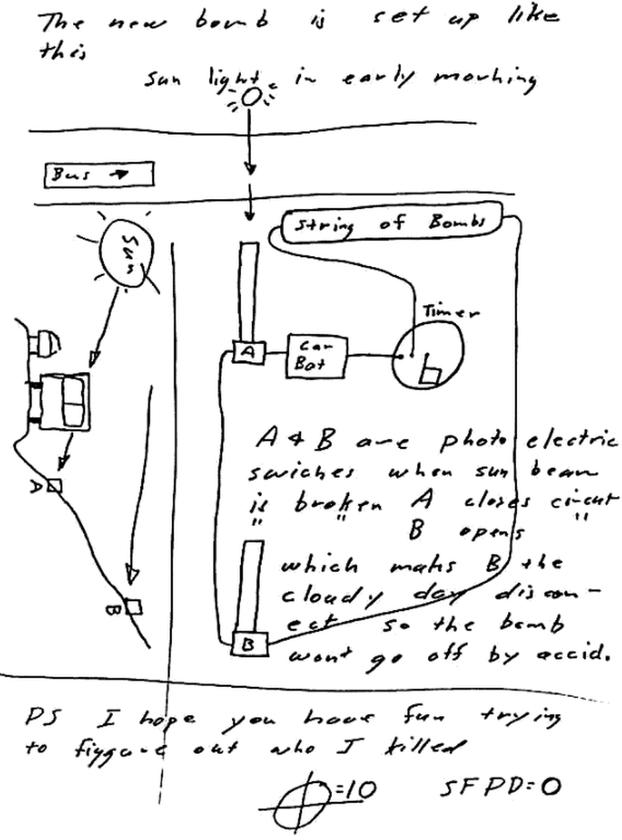 Schemat bomby, który Zodiak wysłał do San Francisco Chronicle 20 kwietnia 1970 roku