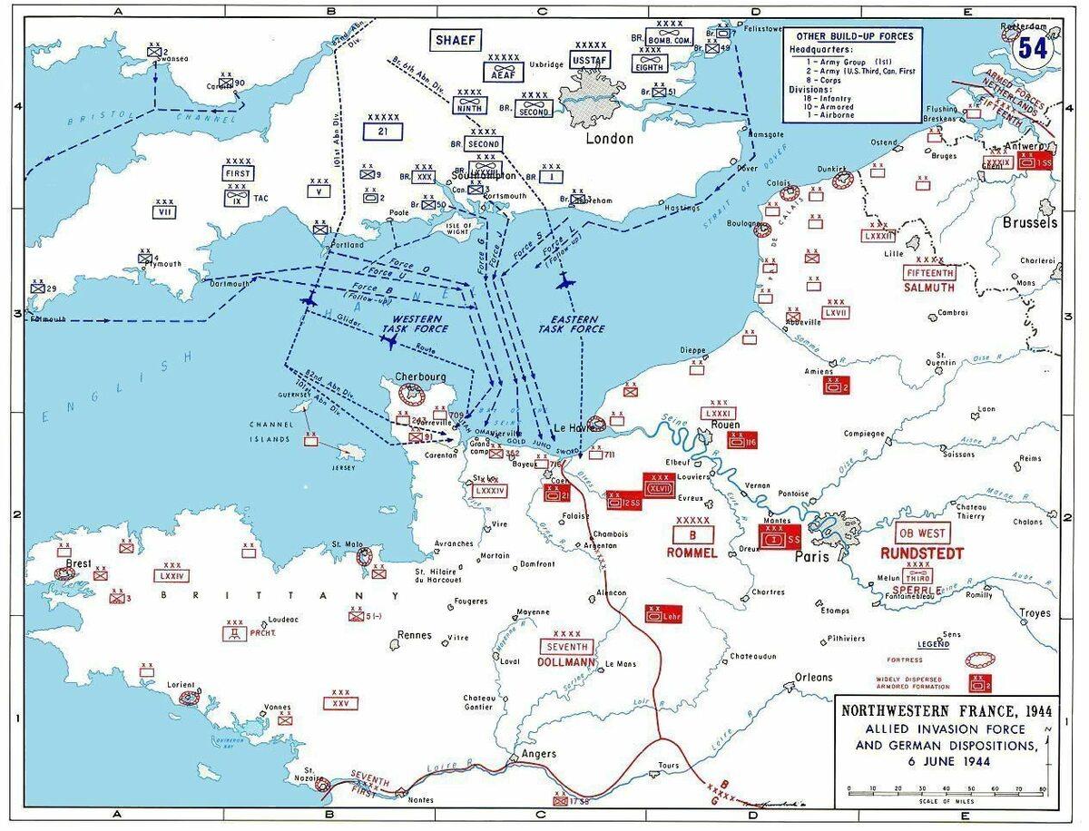 Plan inwazji alianckiej w ramach operacji Overlord.