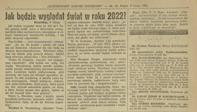 Ilustrowany Kuryer Codzienny z9 lutego 1923r.