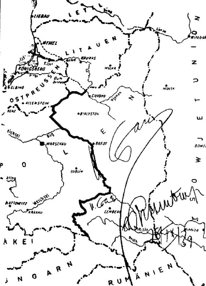 Mapa ostatecznego podziału Polski pomiędzy IIIRzeszę aZSRR z28 września 1939r. zwytyczoną granicą. Podpisy zazgodność: Stalin, Ribbentrop