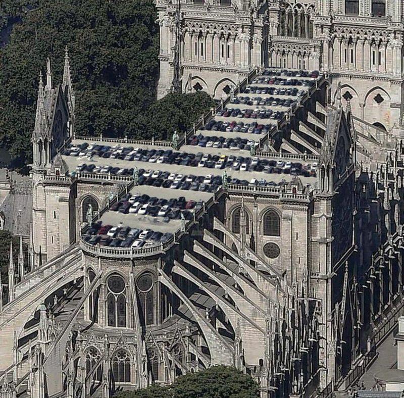 Parking na dachu Notre-Dame