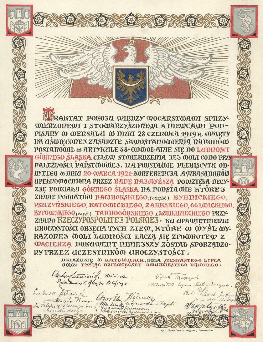 Akt objęcia Górnego Śląska przez Polskę w 1922 r. (zbiory Archiwum Państwowego w Katowicach)