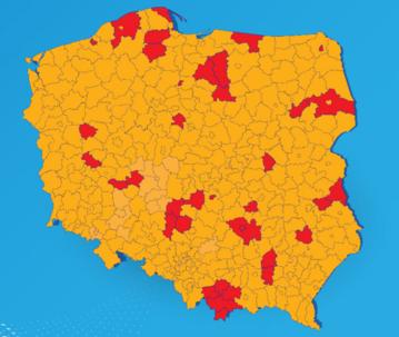 Aktualna lista powiatów w strefie czerwonej