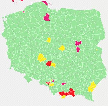 Aktualna lista żółtych i czerwonych powiatów