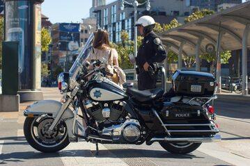 Amerykański policjant na motocyklu