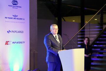 Andrzej Adamczyk, minister infrastruktury, na I Kongresie Rozwoju Kolei