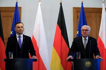 Andrzej Duda i Frank-Walter Steinmeier podczas spotkania w Berlinie w 2018 roku