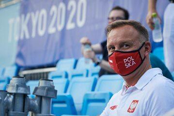 Andrzej Duda na meczu polskich tenisistów w Tokio