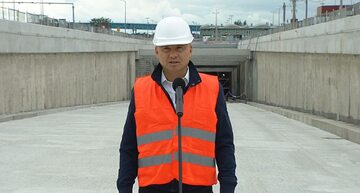Andrzej Duda na terenie budowy tunelu w Świnoujściu