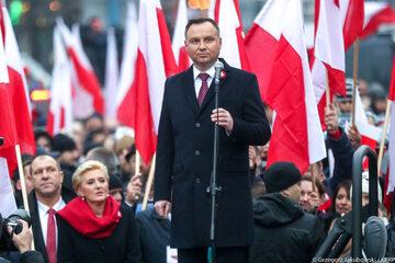 Andrzej Duda podczas marszu w 2018 roku