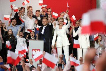 Andrzej Duda podczas wieczoru wyborczego