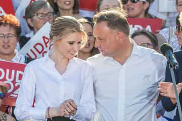 Andrzej Duda z córką Kingą w Rzeszowie w 2020 roku