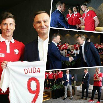 Andrzej Duda z piłkarzami