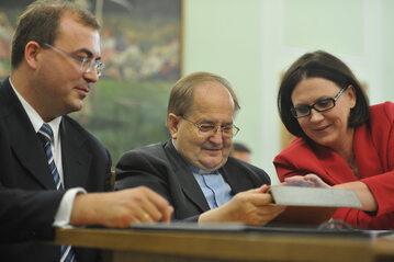 Andrzej Jaworski, o.Tadeusz Rydzyk, Małgorzata Sadurska