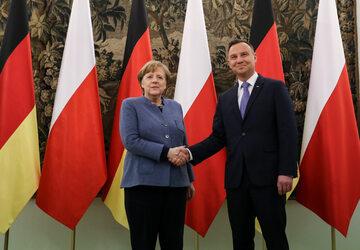Angela Merkel i Andrzej Duda w 2018 r.