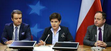 Beata Szydło, Rafał Bochenek i Konrad Szymański po reelekcji Donalda Tuska