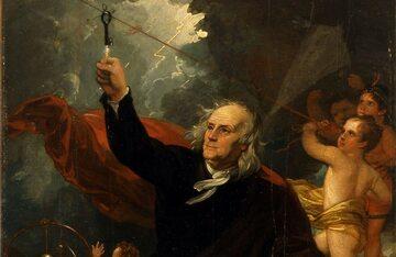 Benjamin Franklin ściągający z nieba elektryczność